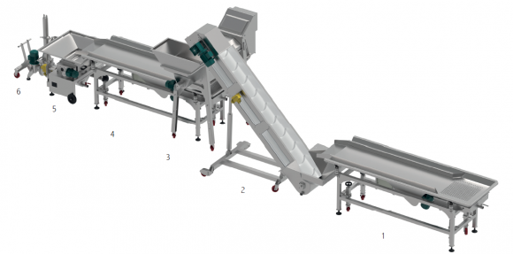 GRAPES SELECTION LINES : ELEVATOR BELT-VIBRATING TABLE/BELT SELECTION TABLE - MOTORISED RUBBER ROLLERS UNIT - PR.250 PUMPS